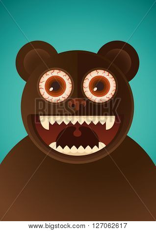 Comic bear. Vector illustration.