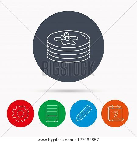 Pancakes icon. American breakfast sign. Food with maple syrup symbol. Calendar, cogwheel, document file and pencil icons.