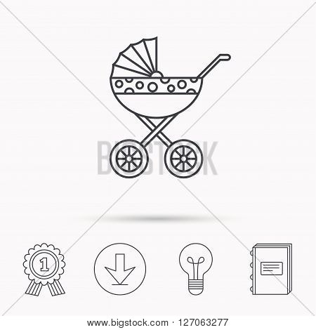 Pram icon. Newborn stroller sign. Child buggy transportation symbol. Download arrow, lamp, learn book and award medal icons.