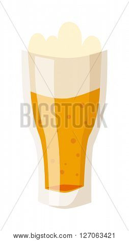 Glass of fresh beer cup with drops and white foam beverage drink lager alcohol pub symbol vector