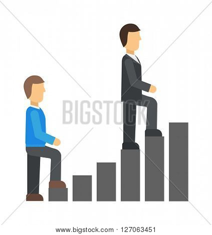 Startup business team working concept men go up the stairs success people work vector illustration.