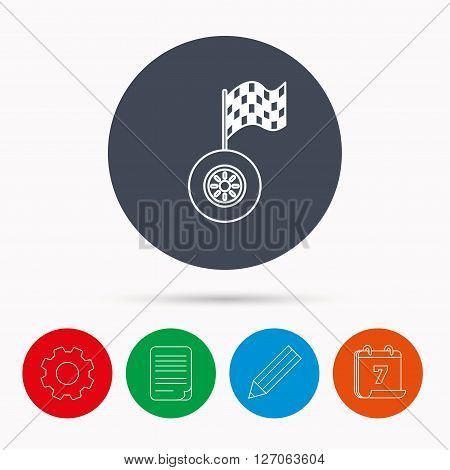 Race icon. Wheel with racing flag sign. Calendar, cogwheel, document file and pencil icons.