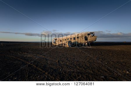 Photo of a crashed military plane in Iceland