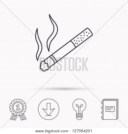 Smoking allowed icon. Yes smoke sign. Download arrow, lamp, learn book and award medal icons.