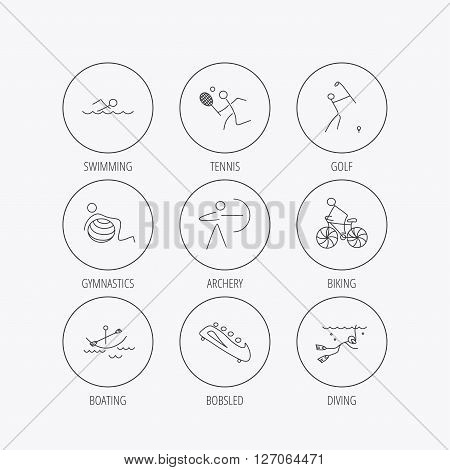 Swimming, tennis and golf icons. Biking, diving and gymnastics linear signs. Archery, boating and bobsleigh icons. Linear colored in circle edge icons.