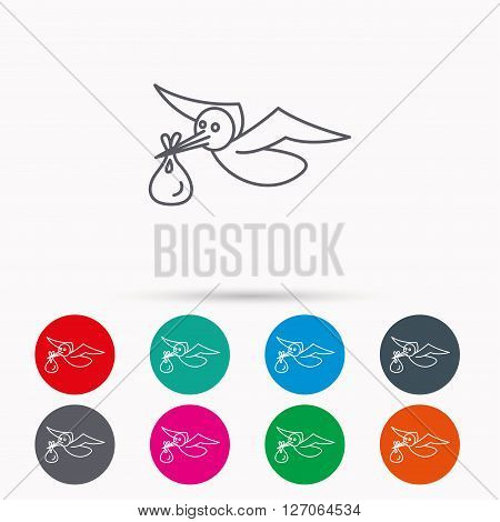 Stork with sack icon. Newborn baby symbol. Linear icons in circles on white background.