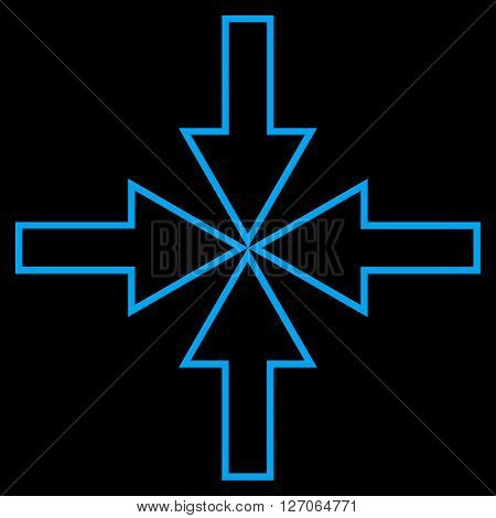 Compact Arrows vector icon. Style is thin line icon symbol, blue color, black background.