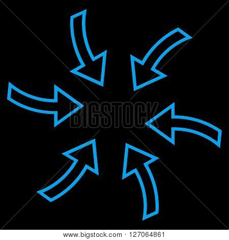 Cyclone Arrows vector icon. Style is outline icon symbol, blue color, black background.