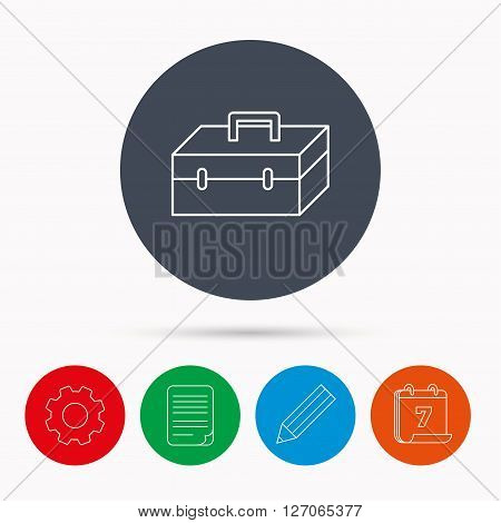 Toolbox icon. Repair instruments sign. Calendar, cogwheel, document file and pencil icons.