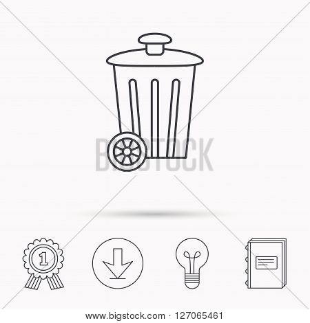 Recycle bin icon. Trash container sign. Street rubbish symbol. Download arrow, lamp, learn book and award medal icons.