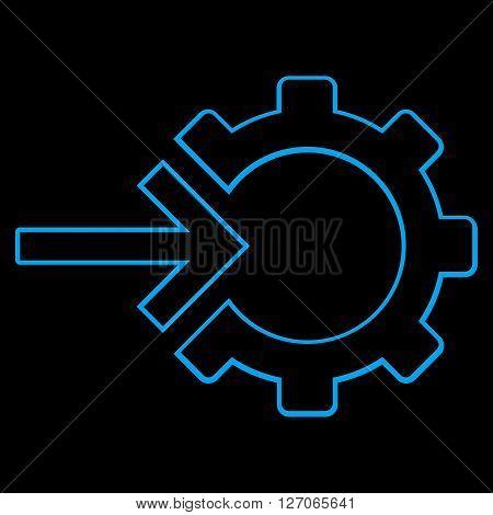 Integration Arrow vector icon. Style is contour icon symbol, blue color, black background.
