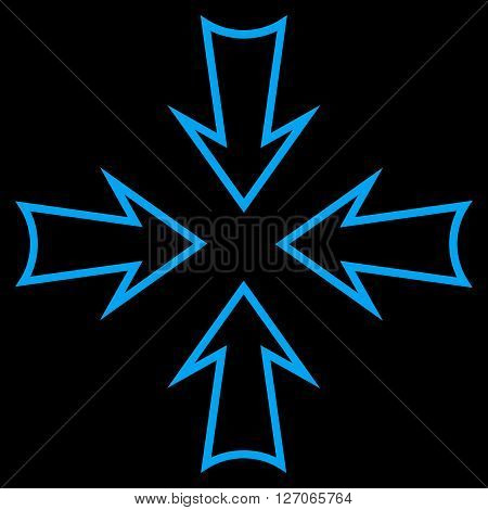 Minimize Arrows vector icon. Style is thin line icon symbol, blue color, black background.