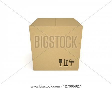Cardboard box isolated on white background 3D rendering