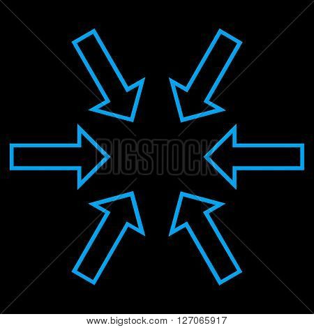 Pressure Arrows vector icon. Style is stroke icon symbol, blue color, black background.