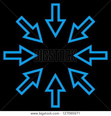 Pressure Arrows vector icon. Style is outline icon symbol, blue color, black background.