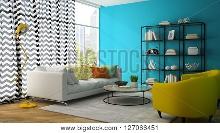Interior of living room with yellow armchair 3D rendering