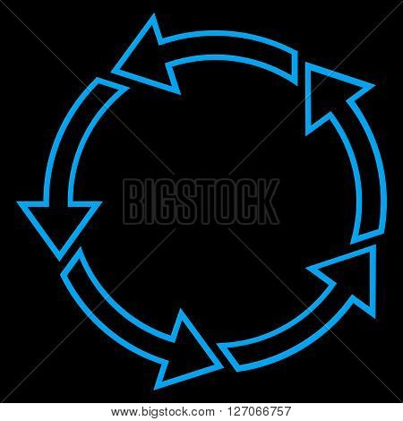 Rotation Ccw vector icon. Style is thin line icon symbol, blue color, black background.