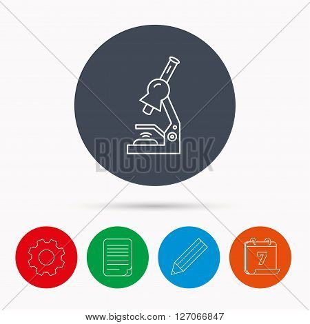 Microscope icon. Medical laboratory equipment sign. Pathology or scientific symbol. Calendar, cogwheel, document file and pencil icons.