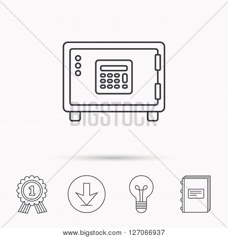 Safe icon. Money deposit sign. Combination lock symbol. Download arrow, lamp, learn book and award medal icons.