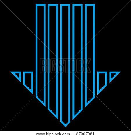 Stripe Arrow Down vector icon. Style is thin line icon symbol, blue color, black background.