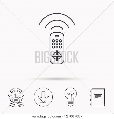 Remote control icon. TV switching channels sign. Download arrow, lamp, learn book and award medal icons.