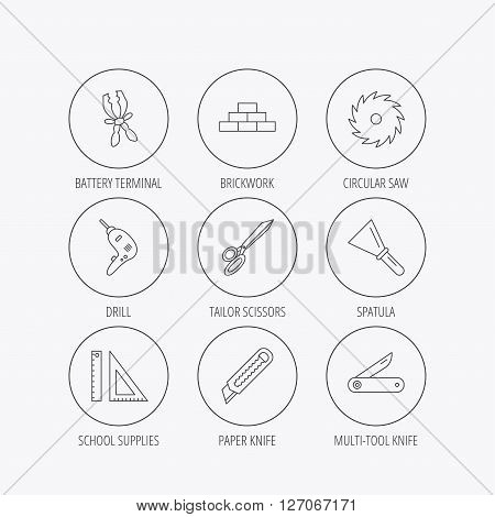 Paper knife, spatula and scissors icons. Circular saw, brickwork and drill tool linear signs. Multi-tool knife, rulers icons. Linear colored in circle edge icons.