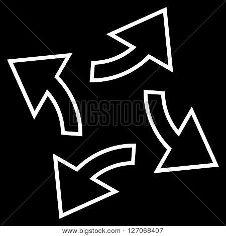 Circular Exchange Arrows vector icon. Style is contour icon symbol, white color, black background.
