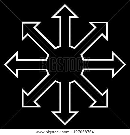 Enlarge Arrows vector icon. Style is thin line icon symbol, white color, black background.