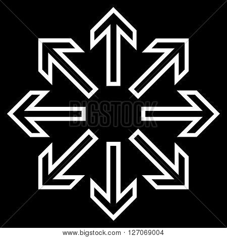 Explode Arrows vector icon. Style is outline icon symbol, white color, black background.