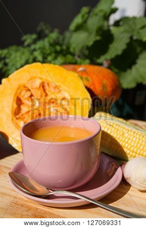 Squash Soup And Organic Pumpkin Fresh Vegetables: Corn, Red Peppers, Scallion, And Ginger