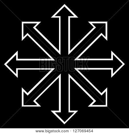 Maximize Arrows vector icon. Style is contour icon symbol, white color, black background.