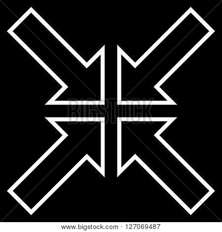 Meeting Point vector icon. Style is contour icon symbol, white color, black background.