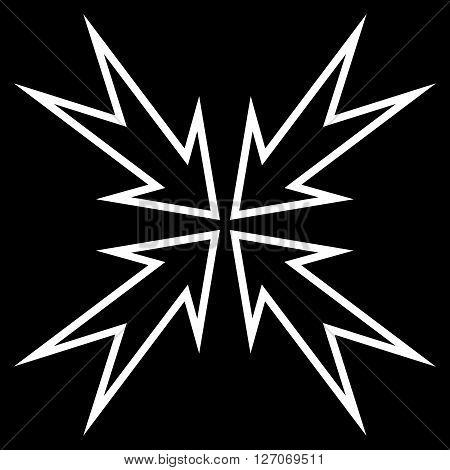 Meeting Point vector icon. Style is stroke icon symbol, white color, black background.