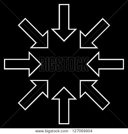 Pressure Arrows vector icon. Style is outline icon symbol, white color, black background.