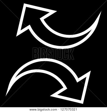 Replace Arrows vector icon. Style is contour icon symbol, white color, black background.