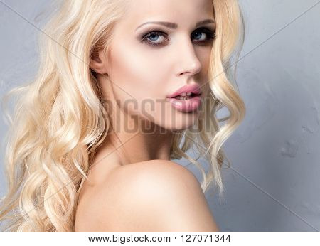 Portrait Of Sexy Blonde Girl.