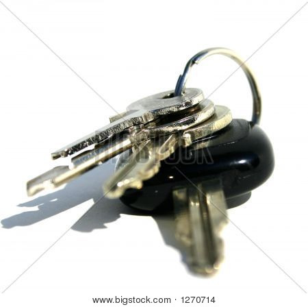 Key Ring With Various Door And Car Keys Against A White Background No 3