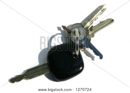 Key Ring With Various Door And Car Keys Against A White Background