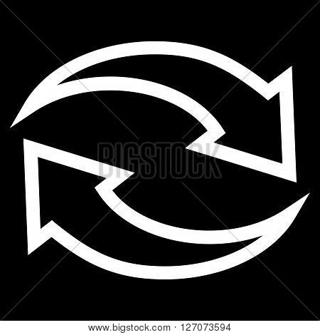 Update Arrows vector icon. Style is contour icon symbol, white color, black background.