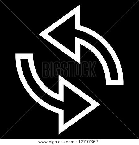 Update Arrows vector icon. Style is thin line icon symbol, white color, black background.