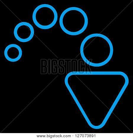 Redo vector icon. Style is contour icon symbol, blue color, black background.