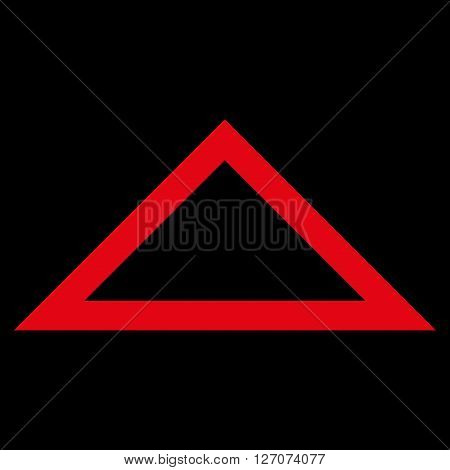 Arrowhead Up vector icon. Style is contour icon symbol, red color, black background.
