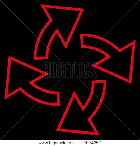 Centrifugal Arrows vector icon. Style is contour icon symbol, red color, black background.
