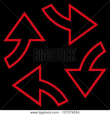 Circular Exchange Arrows vector icon. Style is stroke icon symbol, red color, black background.
