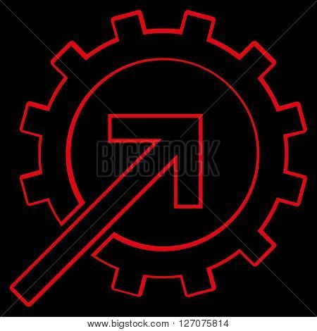 Integration Arrow vector icon. Style is outline icon symbol, red color, black background.