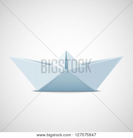 Icon paper boat on a white background. Stock vector illustration.