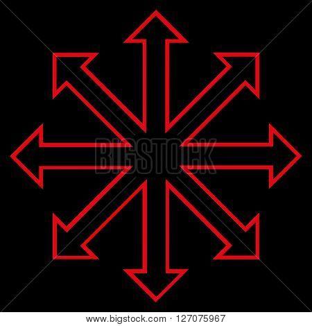 Maximize Arrows vector icon. Style is stroke icon symbol, red color, black background.