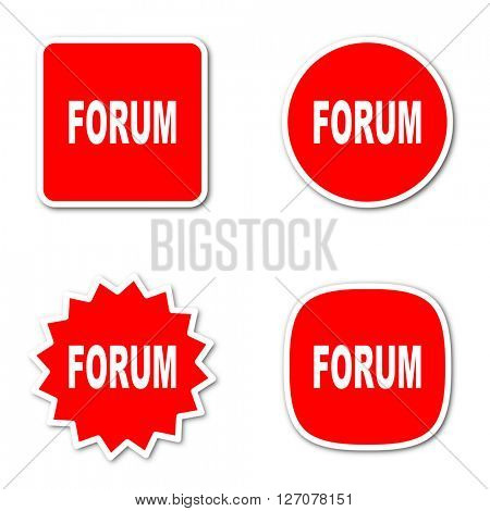 forum simple red web internet icon set flat design sticker tag