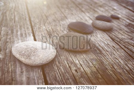 Stones Wooden Table Group of Objects Dawn Concept