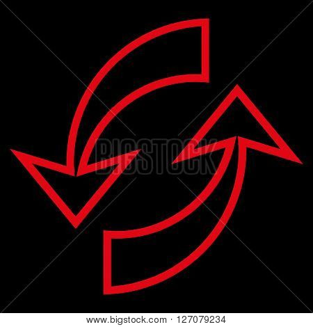 Update Arrows vector icon. Style is thin line icon symbol, red color, black background.